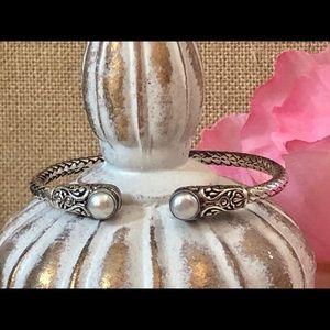 925 Sterling Silver Faux Pearl Bracelet